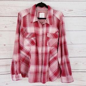 Red Plaid Western Cowboy Long Sleeve Shirt